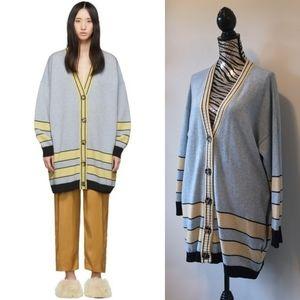 Loewe wool blue/beige striped oversized cardigan